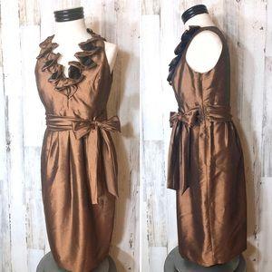 Evan Picone Copper Metallic Cocktail Dress